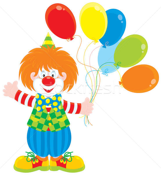 Circus clown with balloons Stock photo © AlexBannykh