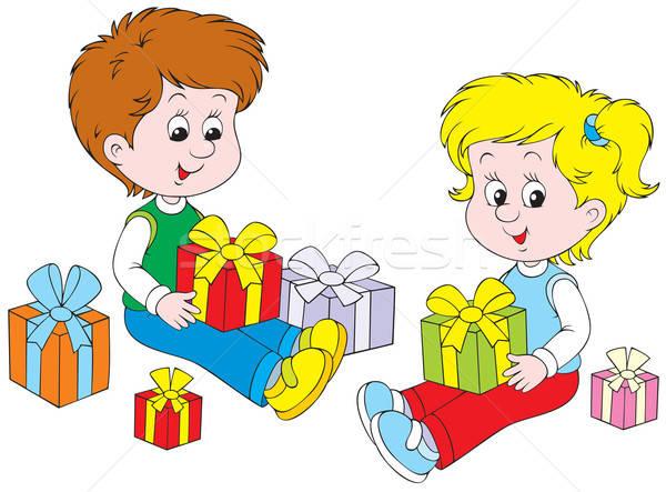 Presentes little girl menino caixas de presente menina criança Foto stock © AlexBannykh