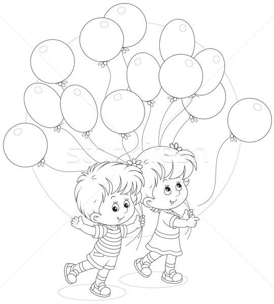 Children with balloons Stock photo © AlexBannykh