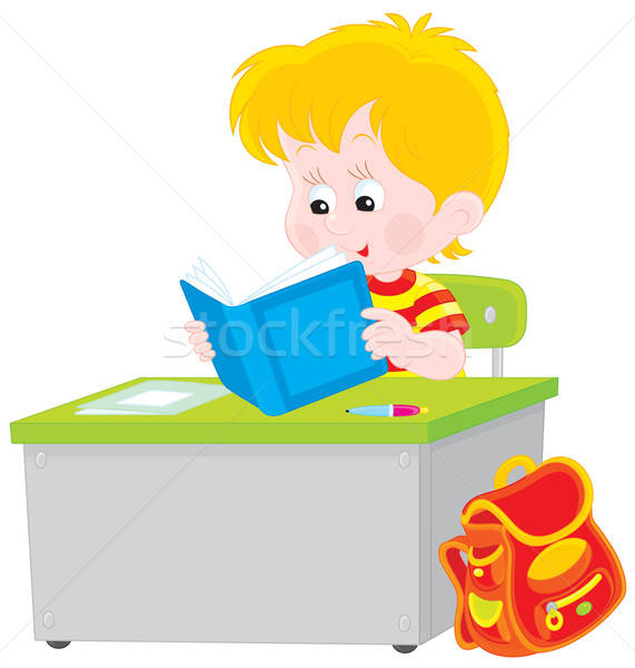 Iskolás fiú olvas tankönyv általános iskola diák ül Stock fotó © AlexBannykh