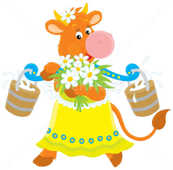 Cow with milk and flowers Stock photo © AlexBannykh