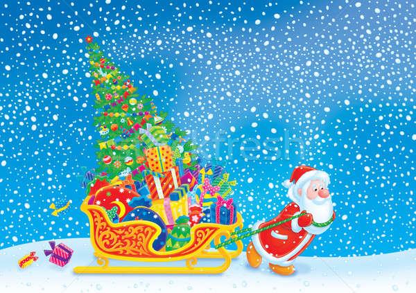 Mikulás szánkó mikulás szánkó karácsony ajándékok Stock fotó © AlexBannykh