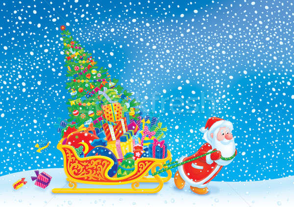 Santa pulls his sleigh Stock photo © AlexBannykh