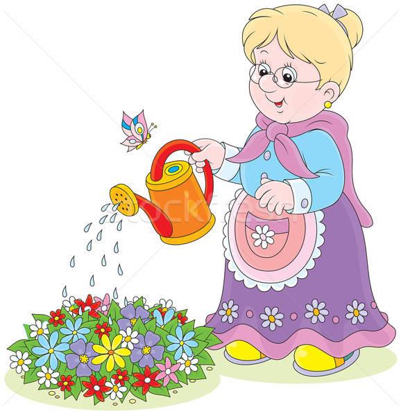 Granny watering flowers Stock photo © AlexBannykh