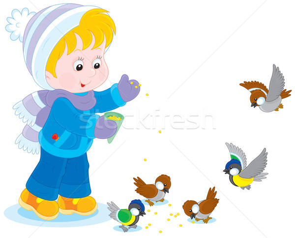 Foto stock: Criança · aves · pequeno · menino · menina