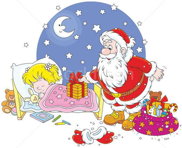 Mikulás ajándékok gyermek éjszaka karácsony mikulás Stock fotó © AlexBannykh