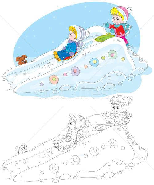 Dzieci mały chłopca dziewczyna w dół zimą Zdjęcia stock © AlexBannykh