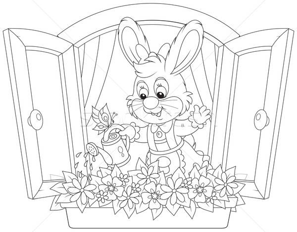 Easter Bunny watering flowers Stock photo © AlexBannykh
