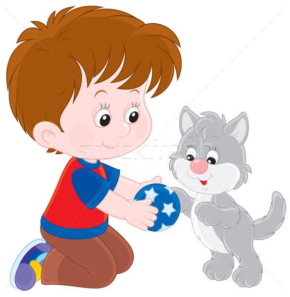 Chłopca kotek mały gry szary piłka Zdjęcia stock © AlexBannykh