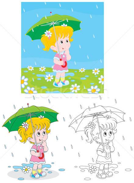 Chuvoso dia little girl guarda-chuva chuva flores Foto stock © AlexBannykh