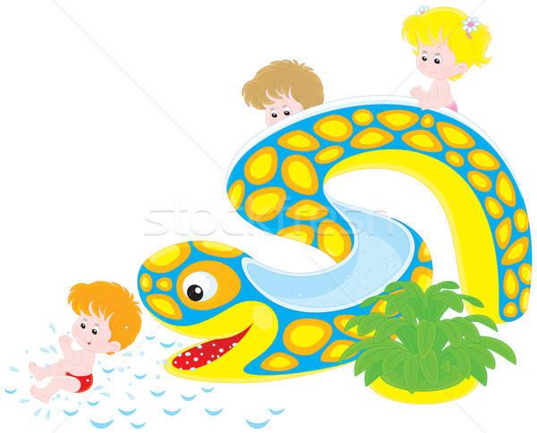 Crianças little girl meninos para baixo lâmina de água parque aquático Foto stock © AlexBannykh