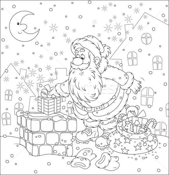 Santa on a housetop Stock photo © AlexBannykh