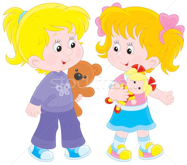 Meninas jogar meninas jogar boneca ursinho de pelúcia Foto stock © AlexBannykh