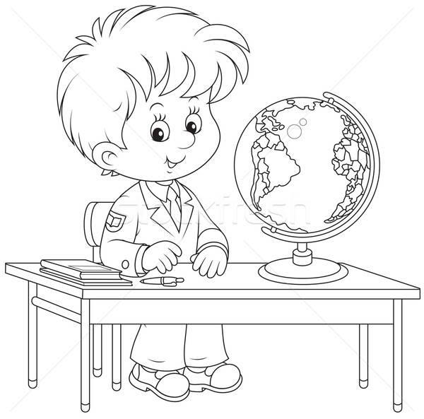Schoolboy at geography lesson Stock photo © AlexBannykh