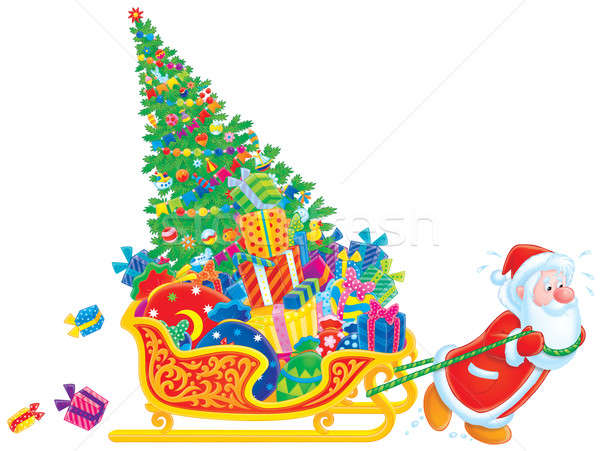 Mikulás szánkó mikulás karácsonyfa ajándékdobozok gyerekek Stock fotó © AlexBannykh