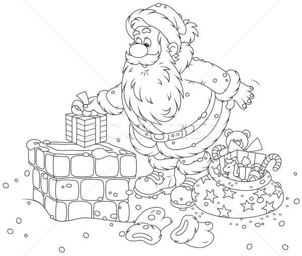 Santa Claus on a housetop Stock photo © AlexBannykh