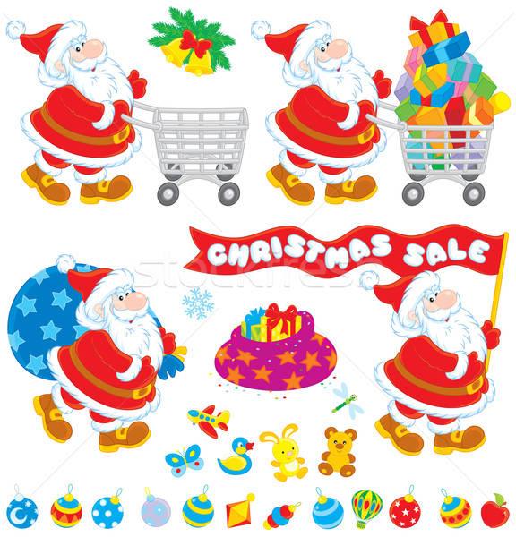 Karácsony vásár mikulás bevásárlókocsi ajándék táska Stock fotó © AlexBannykh