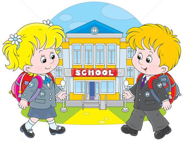 Schoolchildren going to school Stock photo © AlexBannykh
