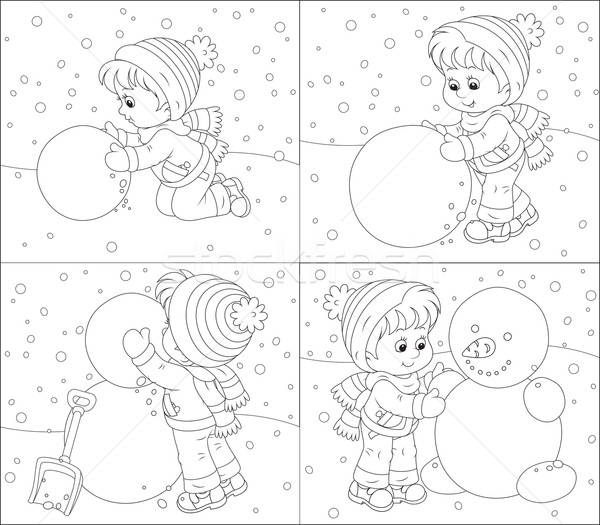 Child Makes A Snowman Vector Illustration C Alexey Bannykh