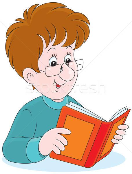 Lezer jonge man bril lezing boek glimlach Stockfoto © AlexBannykh