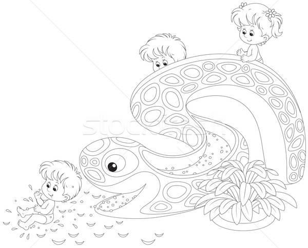 子供 女の子 男の子 ダウン ウォータースライド アクアパーク ストックフォト © AlexBannykh