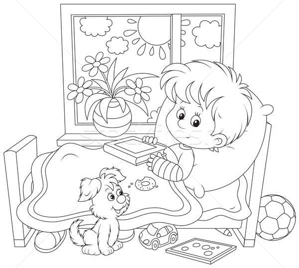 Doente menino fraturar pequeno doente gesso Foto stock © AlexBannykh