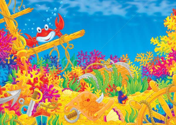 Korallzátony piros rák színes tenger háttér Stock fotó © AlexBannykh