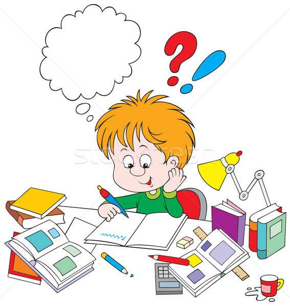 Iskolás fiú házi feladat fiú asztal gyerekek könyv Stock fotó © AlexBannykh