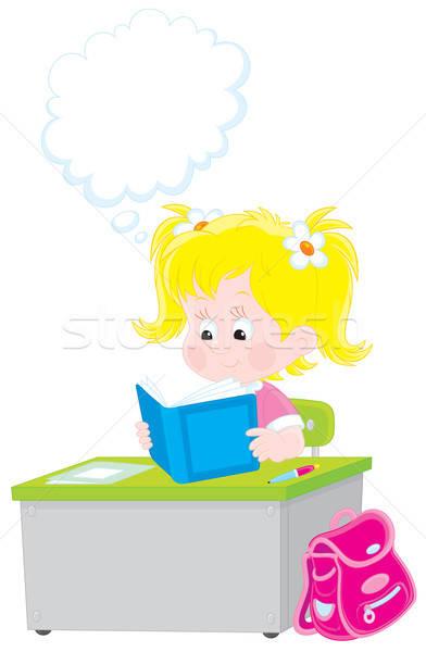 Iskolás lány olvas tankönyv általános iskola diák ül Stock fotó © AlexBannykh