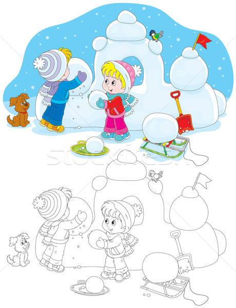 Gyerekek épület hó erőd kislány fiú Stock fotó © AlexBannykh