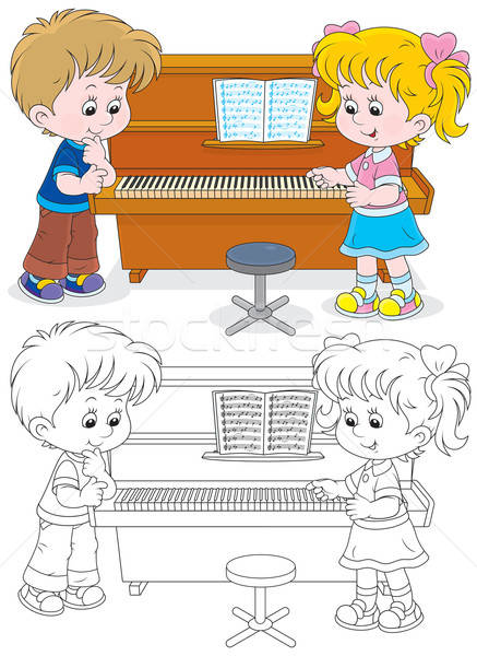 Kinderen spelen piano meisje jongen spelen Stockfoto © AlexBannykh