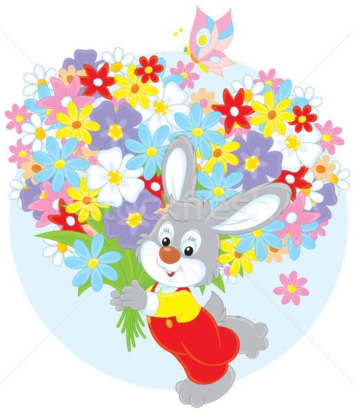Bunny bloemen weinig konijn groot boeket Stockfoto © AlexBannykh