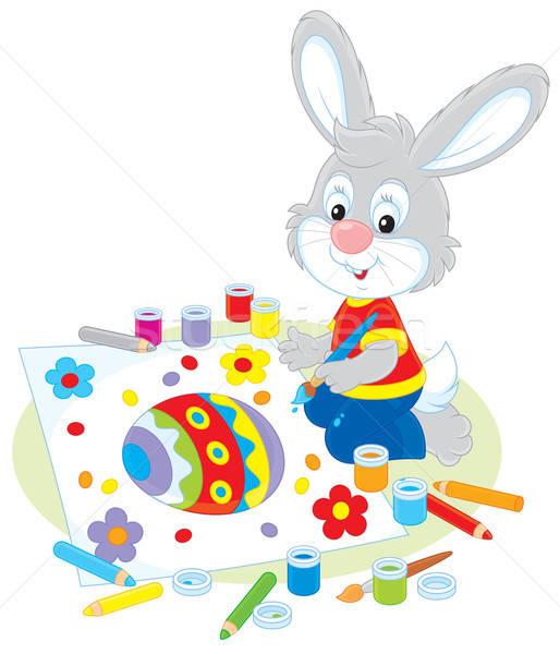 Kicsi nyuszi húsvét kártya nyúl rajz Stock fotó © AlexBannykh
