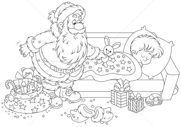 Santa with gifts for a child Stock photo © AlexBannykh