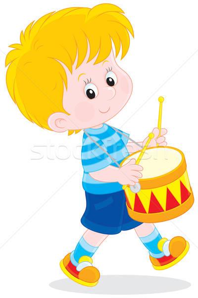 Weinig trommelaar jongen speelgoed kleurrijk trommel Stockfoto © AlexBannykh