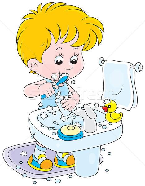 Foto d'archivio: Bambino · piccolo · ragazzo · pulizia · denti
