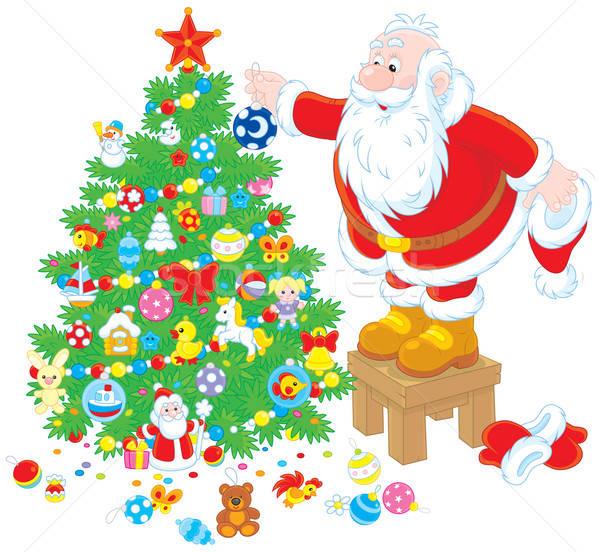 Santa Claus decorating a Christmas tree Stock photo © AlexBannykh