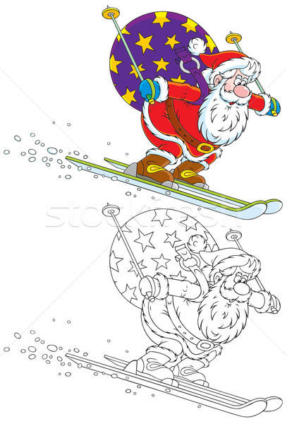 Santa skiing with Christmas gifts Stock photo © AlexBannykh