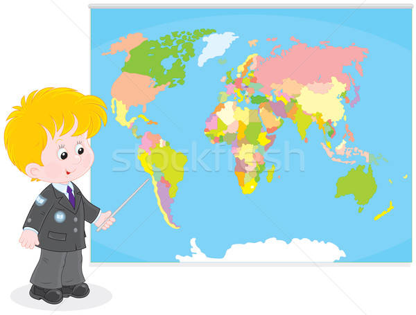 Stock photo: Schoolboy at a World map