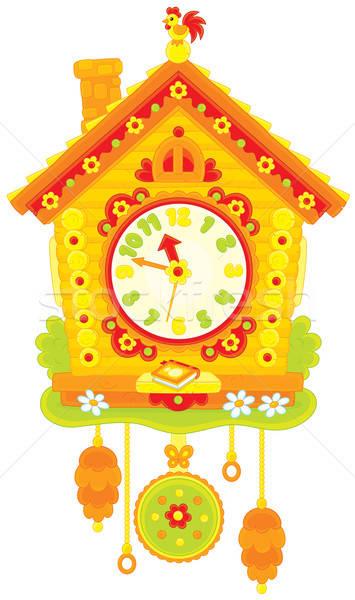 Koekoek klok speelgoed horloge vector witte achtergrond Stockfoto © AlexBannykh