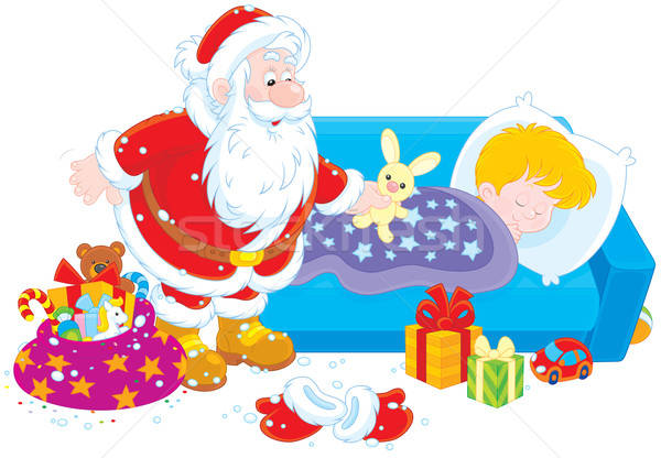 Stock photo: Santa with gifts for a child