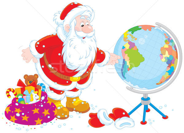 Santa Claus with a globe Stock photo © AlexBannykh