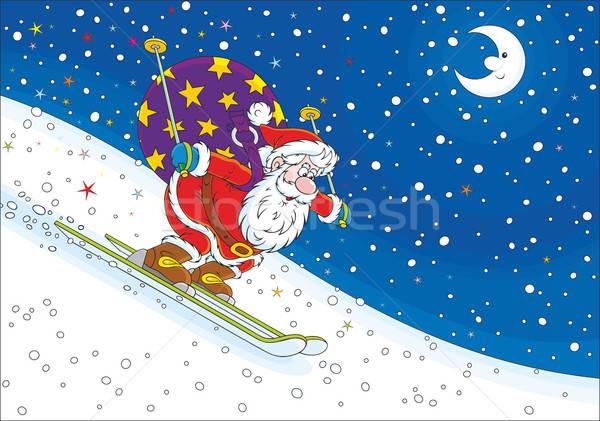 Mikulás síelő éjszaka karácsony síel lefelé Stock fotó © AlexBannykh