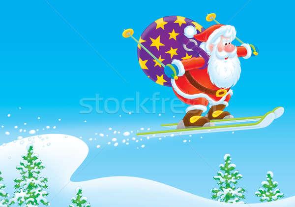 Santa Claus ski jumper Stock photo © AlexBannykh