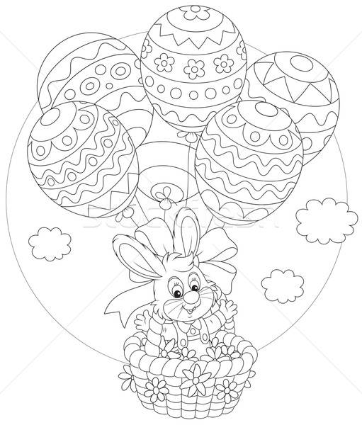 Easter Bunny flies with balloons Stock photo © AlexBannykh