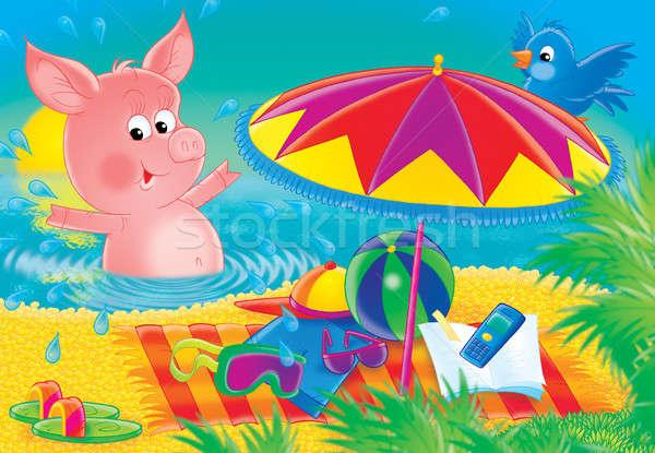Pink piglet Stock photo © AlexBannykh