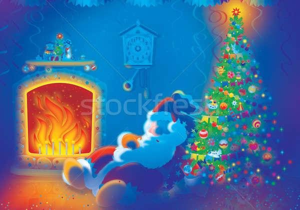 Santa Claus sleeps by the fire Stock photo © AlexBannykh