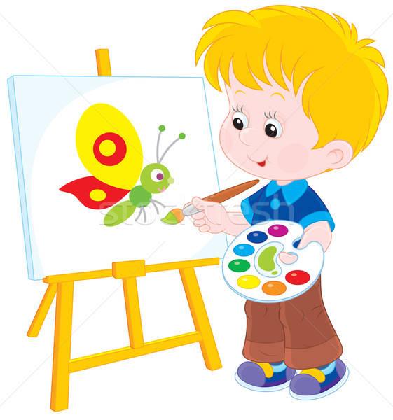 Weinig kunstenaar jongen tekening foto grappig Stockfoto © AlexBannykh