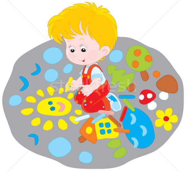 Criança desenho pequeno menino giz engraçado Foto stock © AlexBannykh