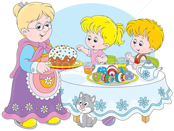 Granny and grandchildren celebrate Easter Stock photo © AlexBannykh